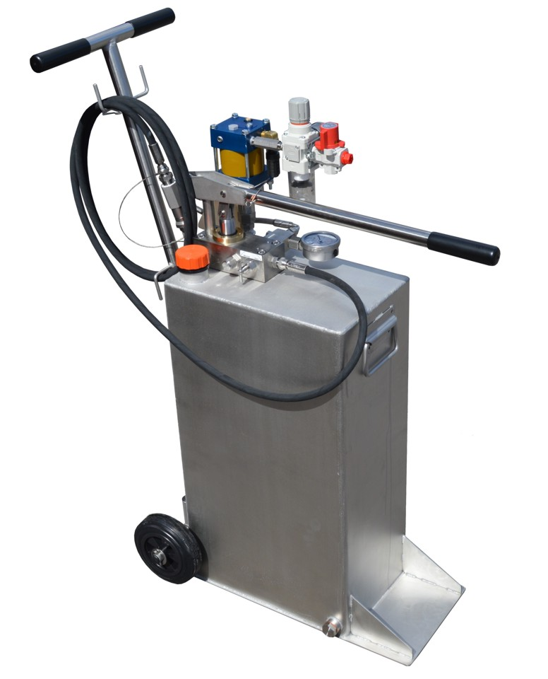 An air driven Micropac Duo pressure hydro test pump with built in hand pump on a 50 litre trolley